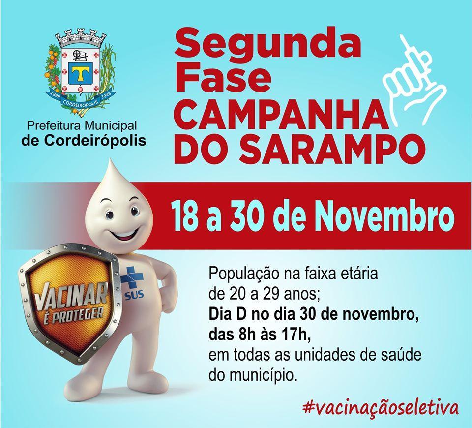 Segunda fase da Campanha de vacinação contra o Sarampo começa dia 18