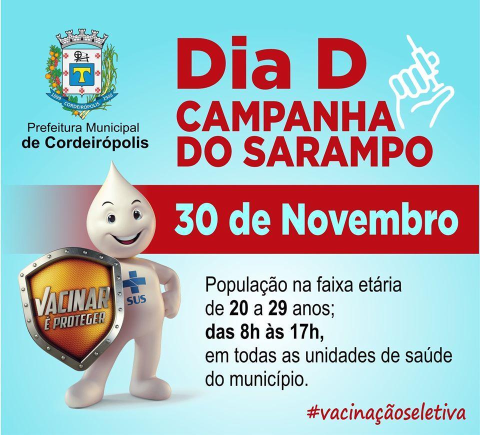 """Amanhã será o """"Dia D"""" da vacinação seletiva contra o sarampo"""