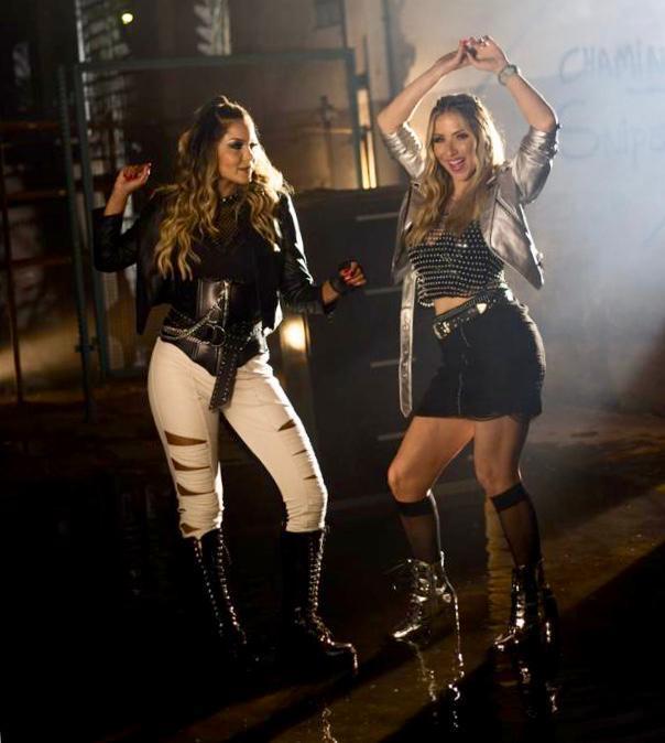 Com cenas de explosão Karollina e Luana Monalisa gravam vídeo clipe em SP