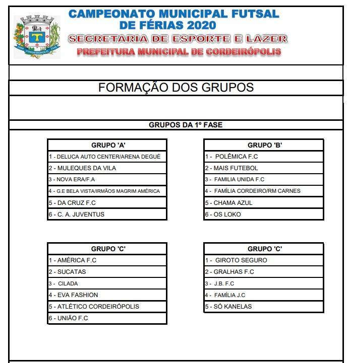 Começa nesta quarta-feira (08) o Campeonato de Futsal de Férias 2020