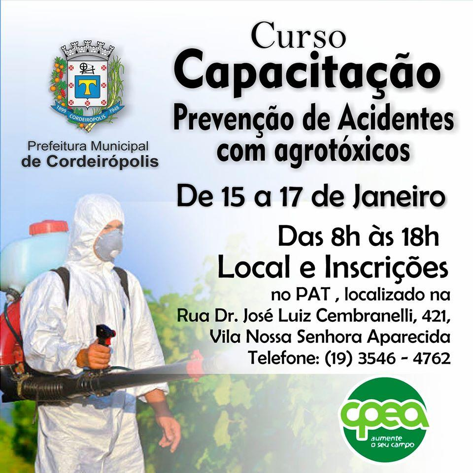 Curso de prevenção de acidentes com agrotóxicos está com inscrições abertas