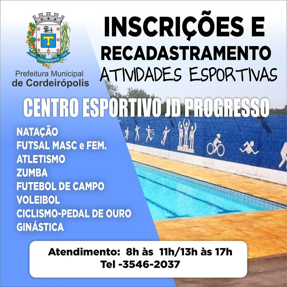Centro Esportivo do Jardim Progresso abre período de inscrições e recadastramento das atividades