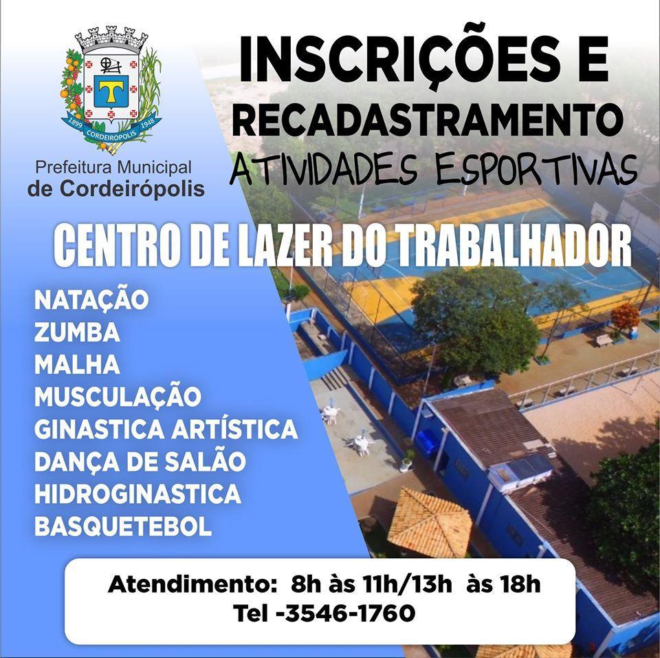 Centro de Lazer do Trabalhador abre inscrições para oito modalidades esportivas