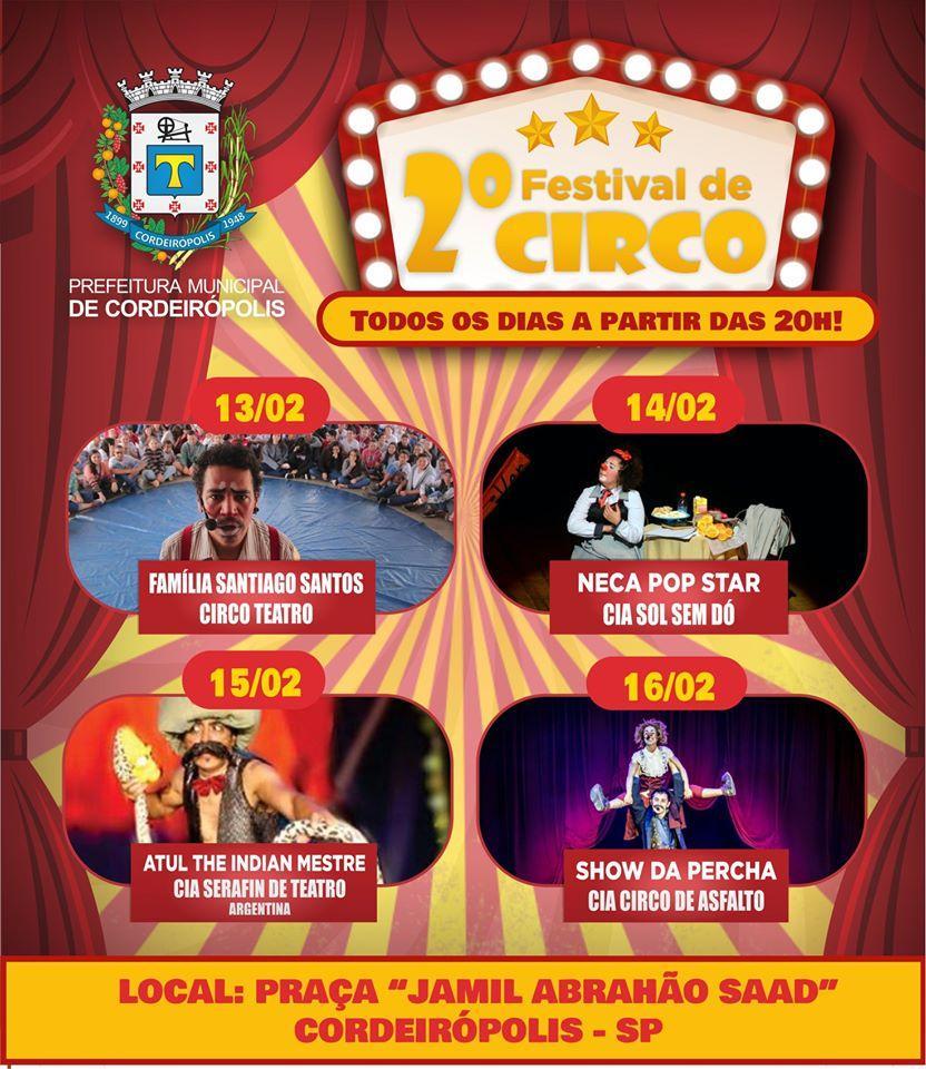 Prefeitura promove 2° Festival de Circo de Rua em Cordeirópolis