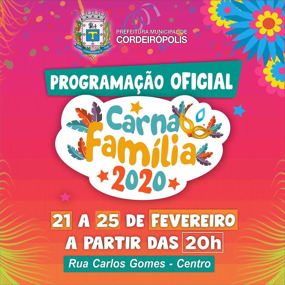 Confira a programação oficial do Carnaval 2020 em Cordeirópolis