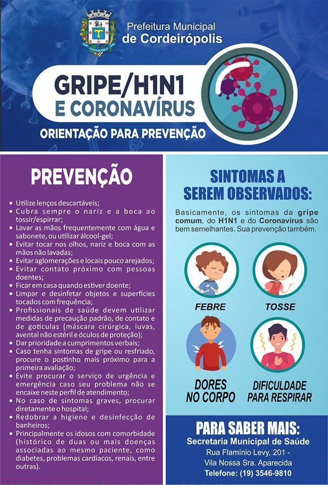 Cordeirópolis divulga ações para prevenção do Coronavírus