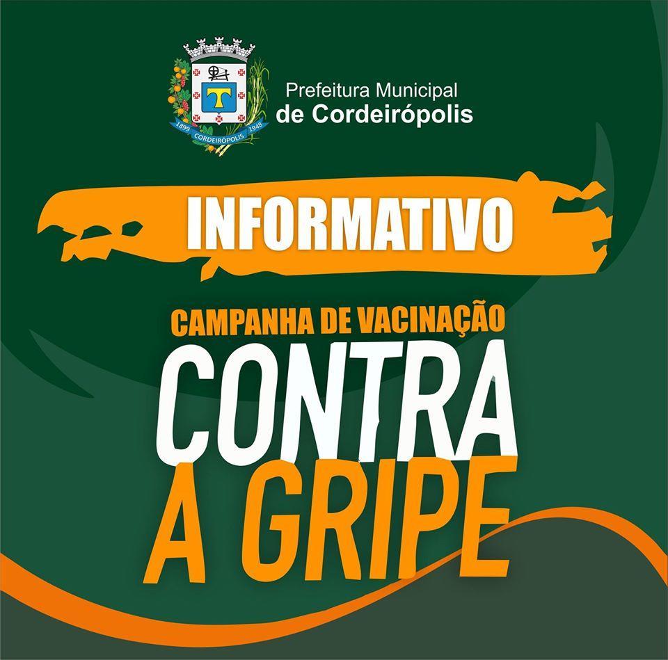 Prefeitura de Cordeirópolis divulga sobre as doses da vacina contra a gripe