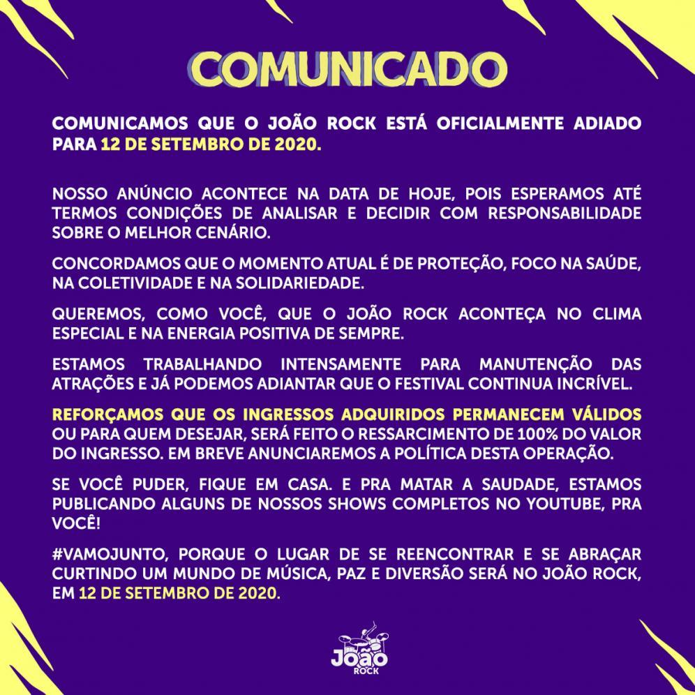 João Rock é adiado para 12 de setembro