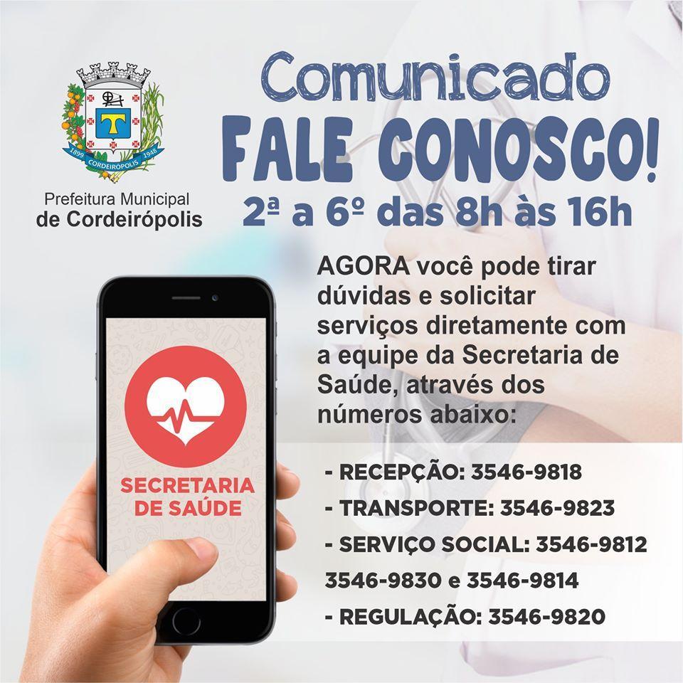 Saúde disponibiliza atendimento via telefone em vários setores