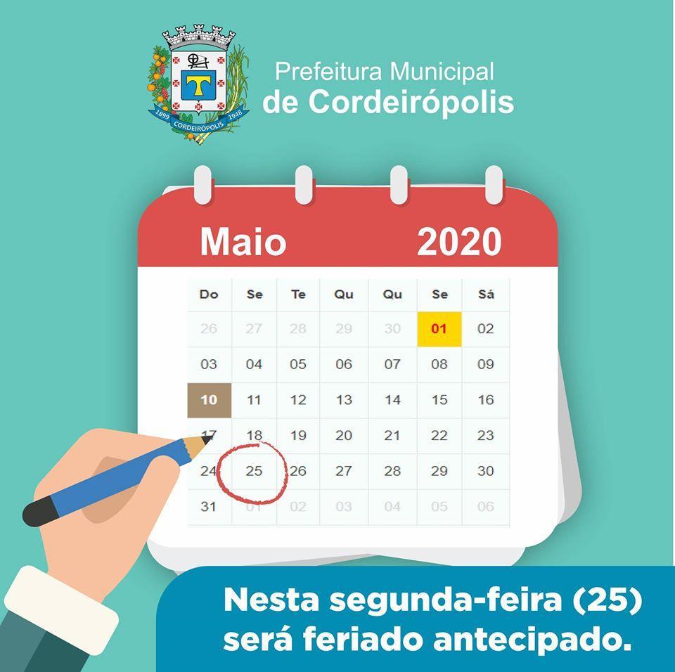 Atenção: Segunda-feira é feriado em todos os municípios do estado de São Paulo