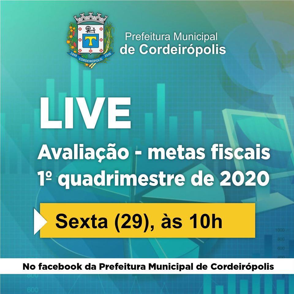 Audiência Pública online apresentará as Metas Fiscais do 1º Quadrimestre