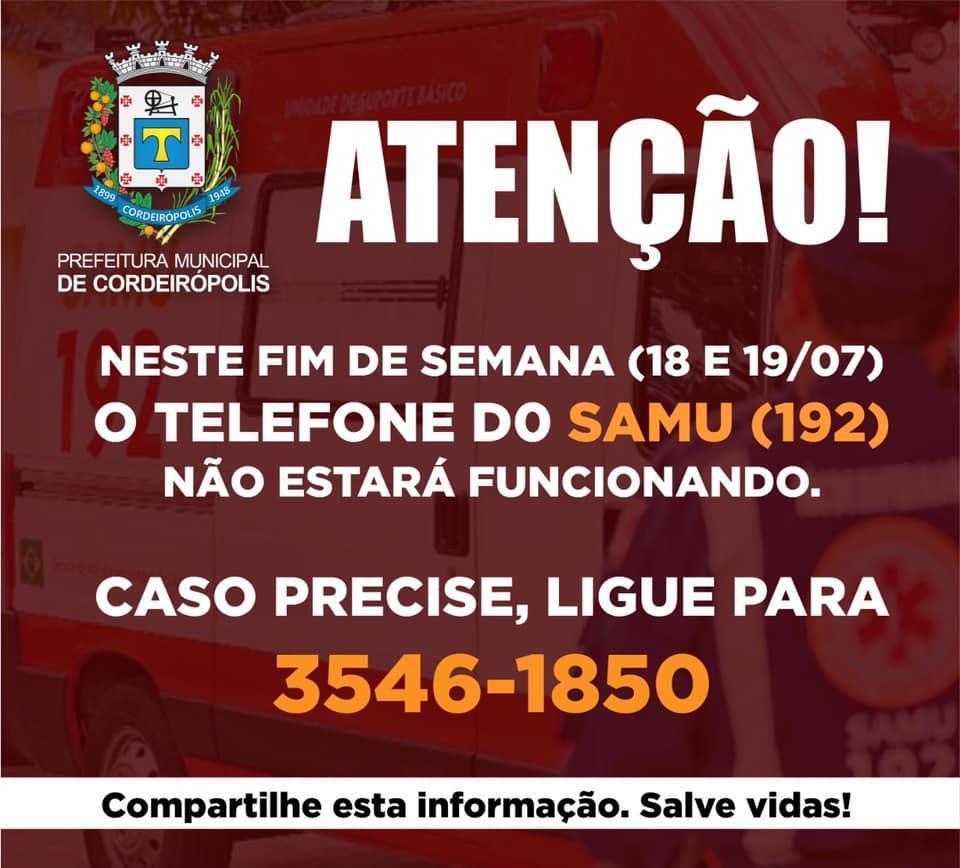 ATENÇÃO - No fim de semana, SAMU atenderá com telefone alternativo