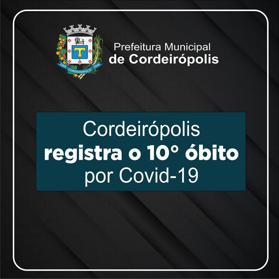 Cordeirópolis registra o 10º óbito por Covid-19