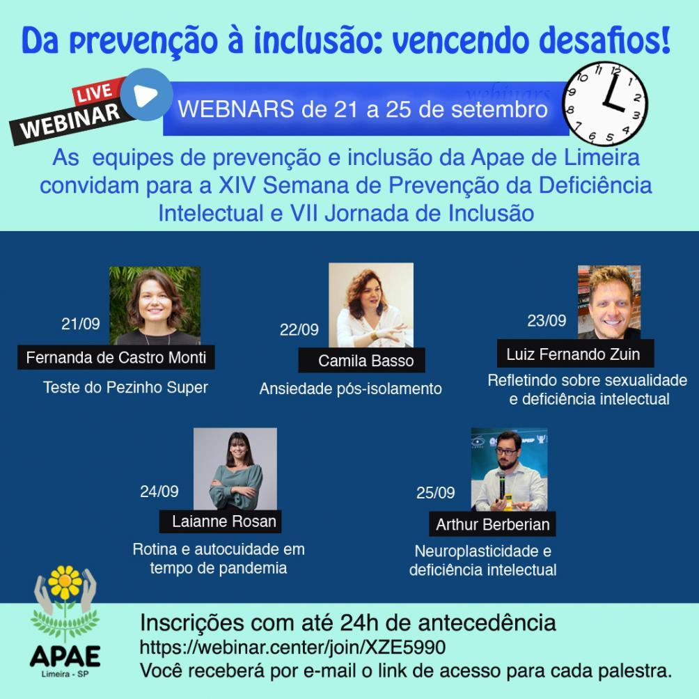 Evento online debate prevenção e inclusão da pessoa com deficiência intelectual