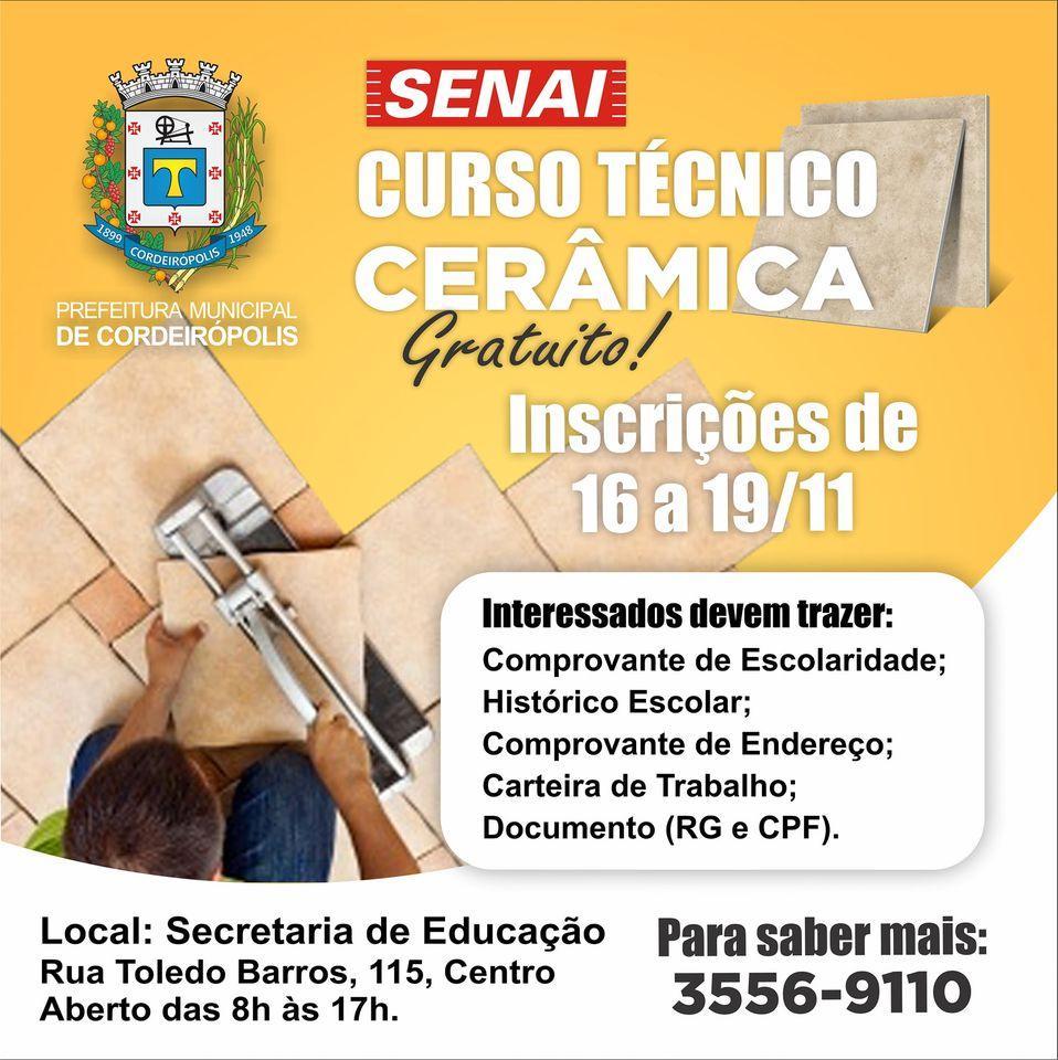 Inscrições abertas para o curso Técnico de Cerâmica em parceria com o Senai