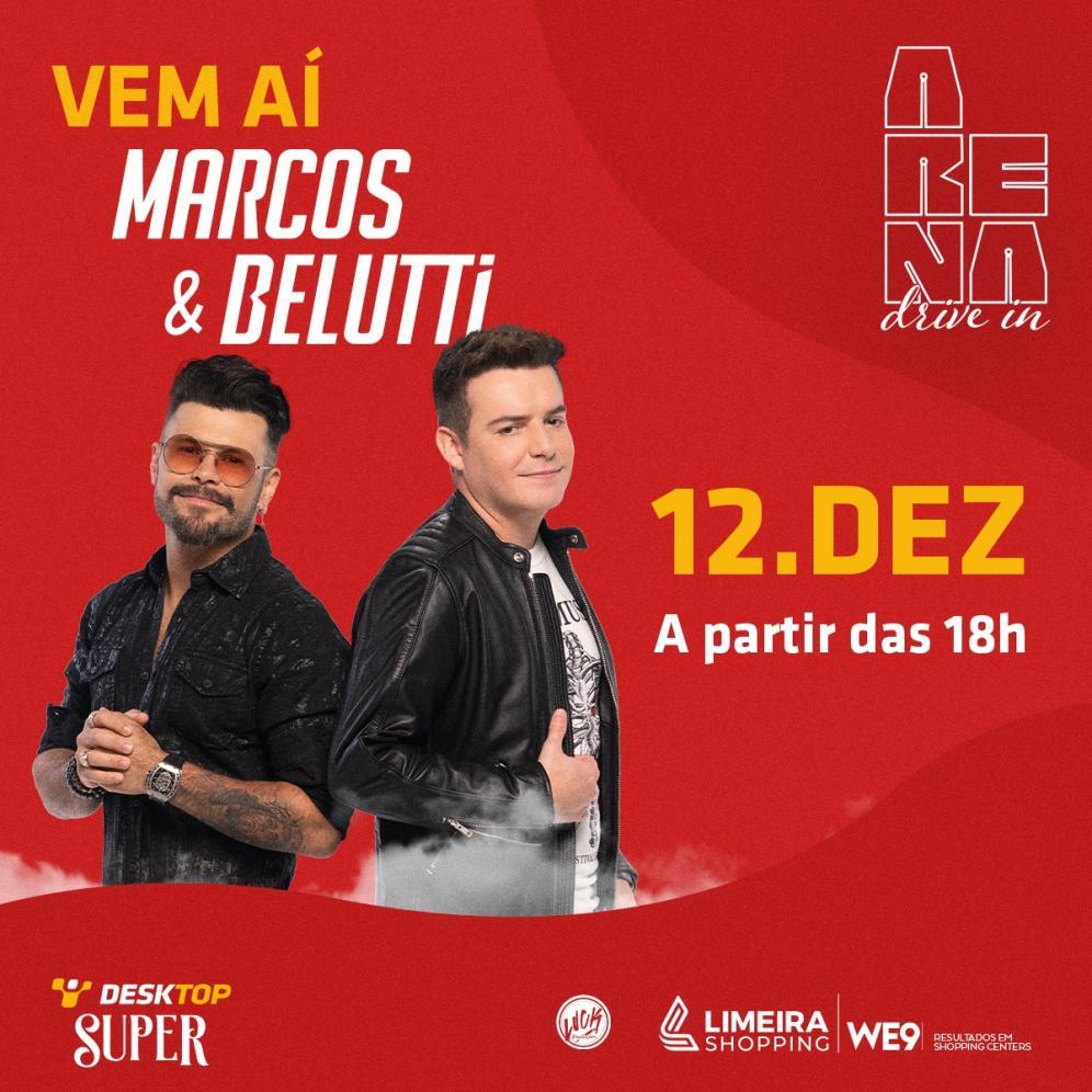 Marcos & Belutti fazem show solidário na Arena Drive-In do Limeira Shopping