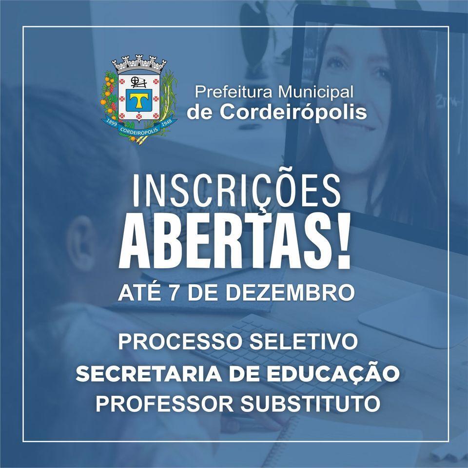 Cordeirópolis abre processo seletivo para professores substitutos