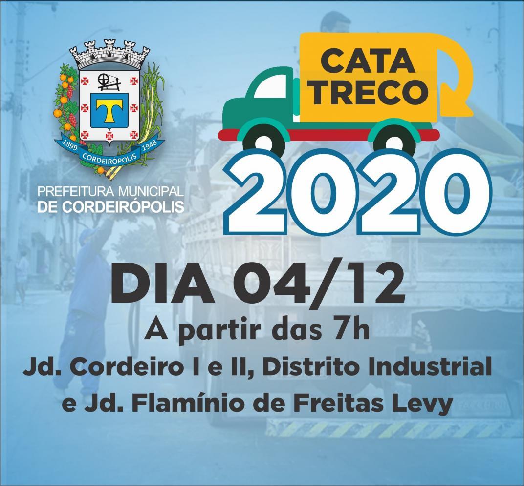Quatro bairros de Cordeirópolis receberão nesta sexta-feira (04) o serviço do cata-treco