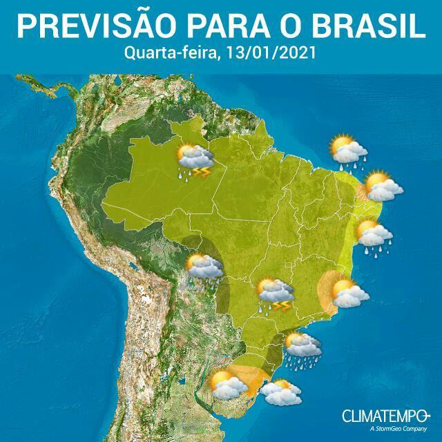 Mais um dia muito instável sobre o Brasil