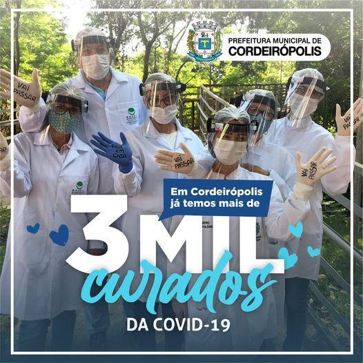 Em Cordeirópolis, já são mais de 3 mil curados da covid-19