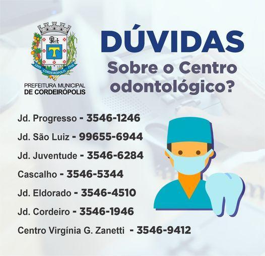 Atendimentos odontológicos de emergência permanecem em todos os postos de saúde de Cordeirópolis