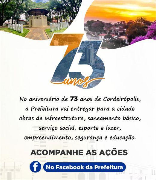 Prefeitura de Cordeirópolis entregará mais de 20 ações no mês de aniversário da cidade