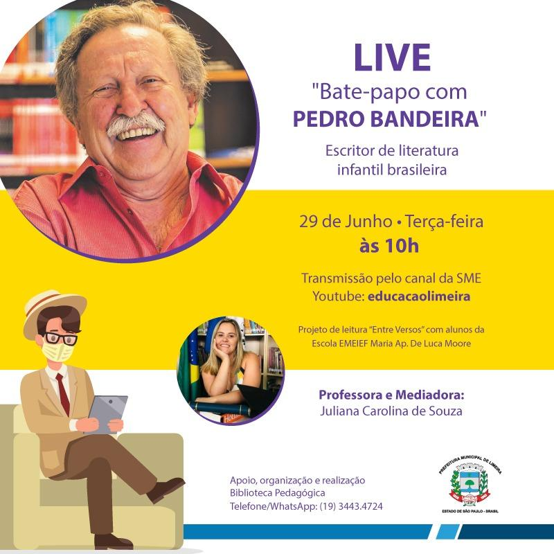 Pedro Bandeira participa de live com alunos do Luca Moore