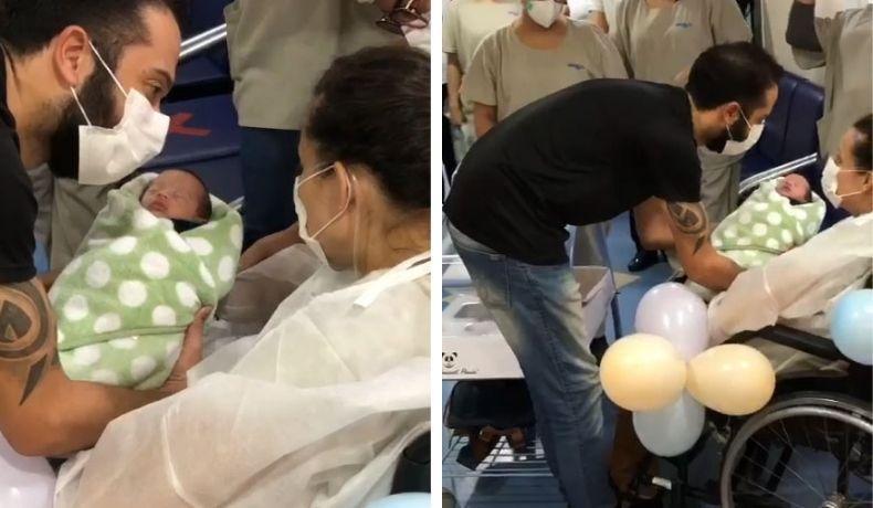 Mãe que deu à luz intubada em Limeira vence a covid e conhece filho quase 1 mês depois