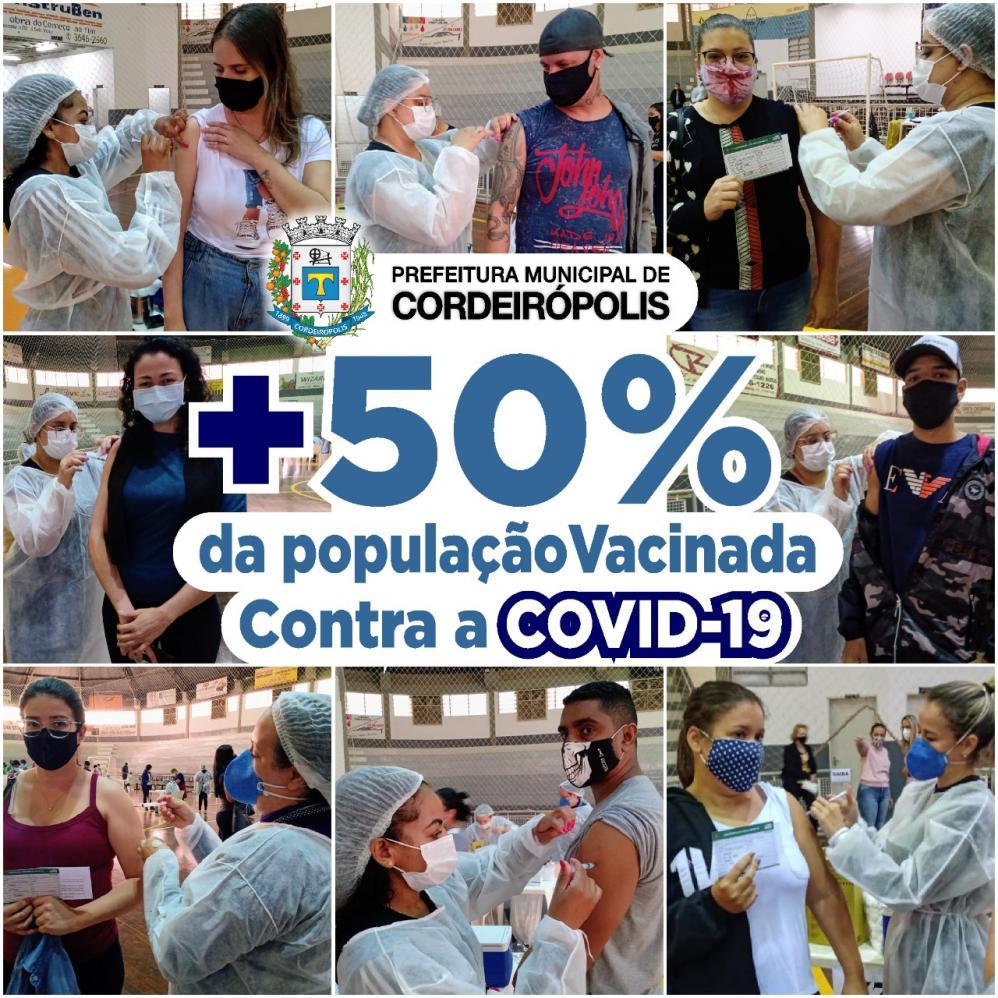 Cordeirópolis aplicou a 1ª dose de vacina em mais da metade da população
