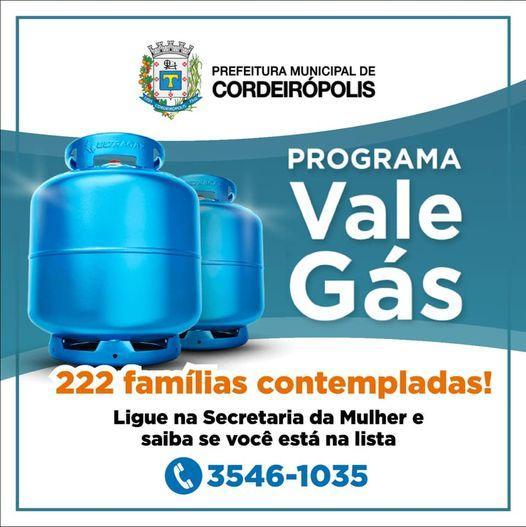 Famílias de baixa renda de Cordeirópolis vão receber vale gás