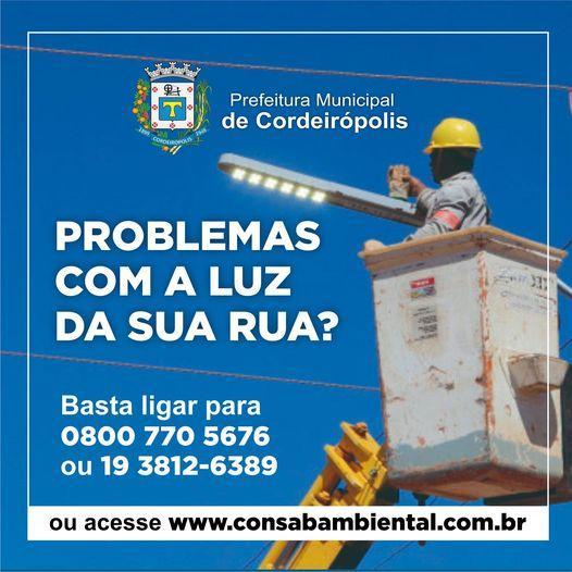 Prefeitura de Cordeirópolis divulga telefone para solicitação de troca de lâmpadas